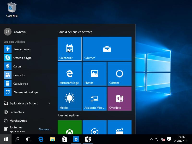 Bureau de Windows 10 (presque) sortis de la boite.